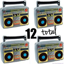 (12) BOOM BOX RADIO Inflatable Blow Up Speakers - 80's Music Party Toy  (1 dz)