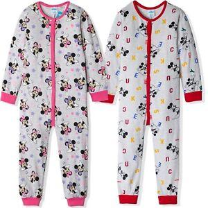 Disney Mickey Minnie Mouse Boys Girls Cotton Sleepsuit All In One Pyjamas 3-8y