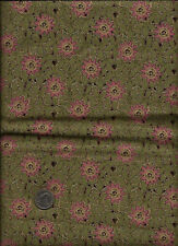 """Potpourri"" Floral Print in dusty pink, green & tan Fabric- Artistic Expressions"