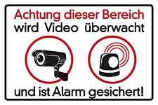Blechschild - ACHTUNG VIDEOÜBERWACHUNG ALARMANLAGE ALARM    -  10x15  cm 15039