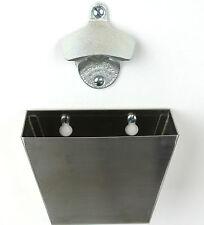 NEW WALL MOUNTED BOTTLE OPENER & S/LESS STEEL CAP CATCHER BAR