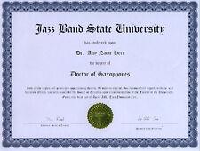 Doctor Saxophone Appreciation Diploma Tenor Alto Sax