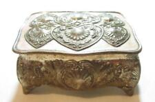 Vintage Japanese Silver Plated Ornate Heart Design Footed Small Jewelry Box*A502