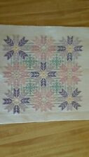 Completed Cross Stitch Christmas Poinsettias and Snowflakes New