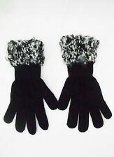 Ladies Black Knit Gloves W/Handmade Black & White Knitted Cuff-One Size
