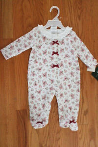 Laura Ashley Size 3-6 Months Infant Girls' Floral Sleep and Play with Bows
