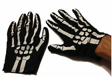 Mens Skeleton Gloves Black & White Printed Bones Adult Size Large Halloween NEW