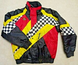Men's COLDWAVE Snowmobile Coat ~ Checkered Red Yellow Black Sz  M Racing Jacket