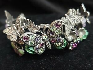 Vintage Mary DeMarco Signed Butterfly Cuff Bracelet with Swarovski Crystals