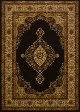 """Black 2x7 Vines Traditional Medallion Runner Rug: Actual Size 1' 11"""" x 7' 2"""""""