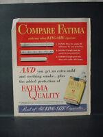 1952 Fatima Quality Cigarettes Compare King Size Vintage Print Ad 11537