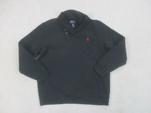 Ralph Lauren Polo Sweater Youth Large Black Red Pony Pullover Boys Kids A22