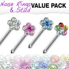 4pc Value Pack Gem Flower 20g Surgical Steel Nose Studs Bones Rings