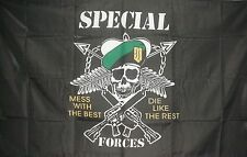 SPECIAL FORCES FLAG BLACK WITH GUNS & SKULL DESIGN 5x3 ft