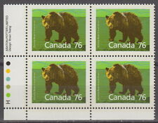 CANADA #1178 76¢ Grizzly Bear LL Plate Block MNH