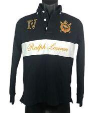 Ralph Lauren Mens Polo Shirt Black Black White Long Sleeve 100% Cotton Top M