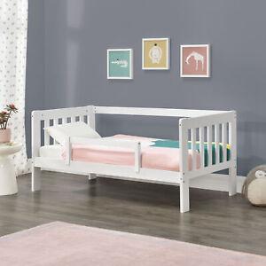 Kinderbett 70x140cm Juniorbett mit Rausfallschutz Bettgestell Stauraum Bett Weiß