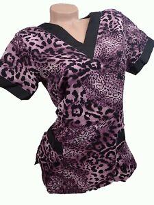 New Women Nursing Scrub Purple Cheetah Jaguar Poly Top  Size L