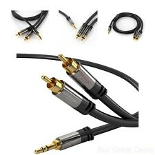 3 Feet 3.5Mm Aux To 2 Rca Male Audio Cable Auxiliary Car Stereo