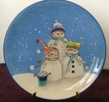 Snowman SNOWFOLKS Dinner Plate Snow Winter Blue White Oneida RARE MC