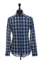 Hugo Boss Blue Check Linen Edaoi Shirt XL 13209