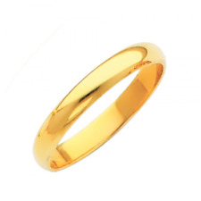 14k Yellow Gold White Plain Wedding Band Ring Promise Anillo Compromise Oro Real