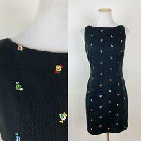 VTG 90s ANN TAYLOR Ditsy Floral Embroidered Mini Dress S Black Cotton Pique Cute