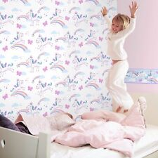GIRLS WHITE PURPLE RAINBOW BUTTERFLIES UNICORN WALLPAPER FINE DECOR FD41922
