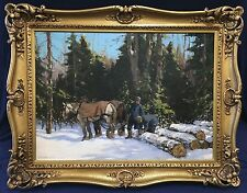 Frederick Simpson Coburn: Original Oil on Canvas - Two Loggers with Horses 1932