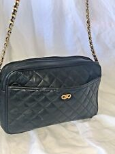 Koret Vintage Quilted Chain Black Crossbody Purse Bag Genuine Leather