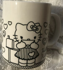 Hello Kitty SanRio 'Love Letters' Black and White Coffee Cup Mug