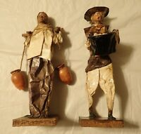 "Vintage Handmade Mexican Folk Art Dolls Paper Mache Man & Women 12"""