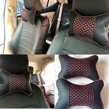 2pcs PU Leather Ventilation Car Headrest Neck Pillow Comfortable Pillow Cushion