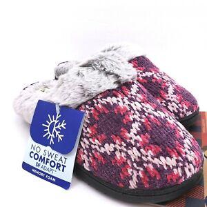 Dearfoams Womens Size L 9-10 Pink Faux Fur Memory Foam No Sweat Slip On Slippers