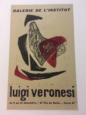 RARE LUIGI VERONESI ORIGINAL EXHIBITION POSTER 1956 Galerie de l'Institut
