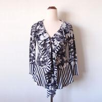 GORDON SMITH Navy Floral Stripe Ruffle 3/4 Sleeve Sheer Slim Top Blouse Size 10