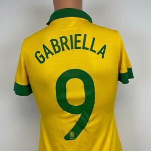 Nike Brazil National Soccer Team Custom Jersey Football Gabriella Womens Size S