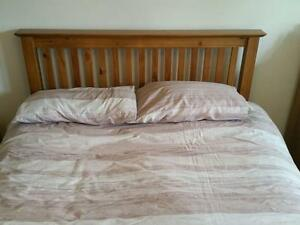 Farmhouse Country Oak Slatted  Double Bed and Mattress