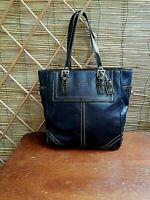Coach F10412 Black Leather Legacy Hampton Gallery Tote Shoulder Purse Bag