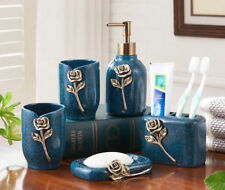 Resin New 5Pcs Blue Bathroom Accessories Sets Soap Holder Toothbrush Cup