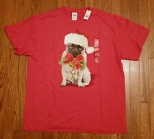 Mens XL XLARGE PUG CHRISTMAS T Shirt Dog Holiday Cute Puppy Athletic Fit NWT
