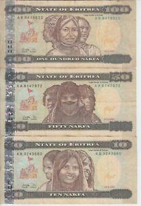 ERITREA  P.3-5-6 LOT#15  10-50-100 NAKFA 1997  CIRCULATED  LOW SHIPPING
