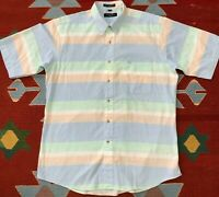 Vintage Christian Dior Short Sleeve Button Up Shirt Pastel Striped Large