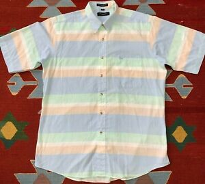 Vintage Christian Dior Short Sleeve Button Up Shirt Pastel Striped Large