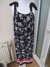 BNWOT BLACK/WHITE/RED PATTERN TIE SHOULDER DRESS UK SIZE 16