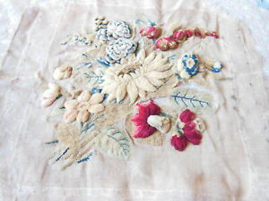 Antique/Victorian Hand-Embroidered Petit Point and Plushwork Fabric Panel