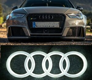 AUDI LED GLOSSY BLACK BADGE A1 A3 A4 A5 A6 FRONT GRILL LOGO RINGS White Blue Red