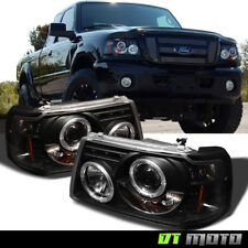 Blk 2001-2011 Ford Ranger LED Halo Projector Headlights w/Built In Corner Lamps