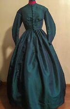 One Piece Green Taffeta Victorian / Civil War Era Day-dress