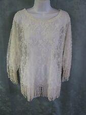 Dylan Sheer Lace Blouse Size Medium Fringed Romantic Top